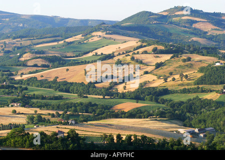The beautiful Le Marche Italy countryside near Frontone - Stock Image