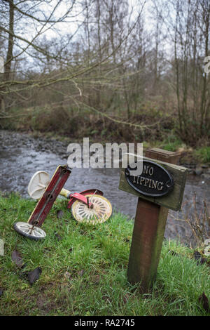 Fly-tipping in the countryside, Northumberland, UK - Stock Image