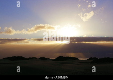 Sunrise Over Maspolomas Sand Dunes, Gran Canaria, Canary Islands, Spain - Stock Image