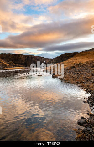 One of the many waterfalls in Iceland. - Stock Image