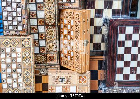 Israel, Tel Aviv-Yafo - 24 April 2019: Backgammon and chess games sold in Shuk hapishpeshim flea market - Stock Image
