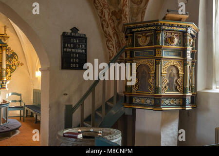 Pulpit in Sejerø church in Sejerby - Stock Image