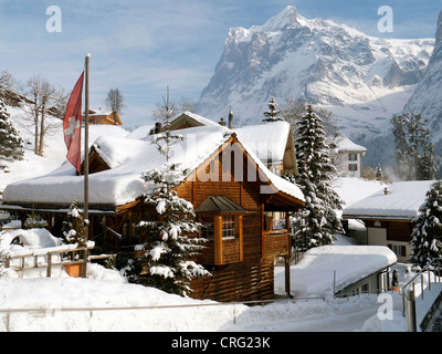 Grindelwald skiing region in Interlaken-Oberhasli Switzerland - Stock Image