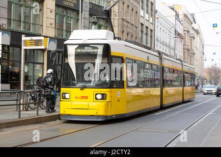 Germany, Berlin. Street scene with yellow street car. Credit as: Wendy Kaveney / Jaynes Gallery / DanitaDelimont.com - Stock Image