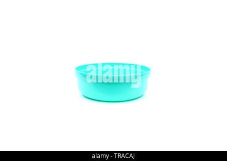 Blue plastic bowl on isolated - Stock Image
