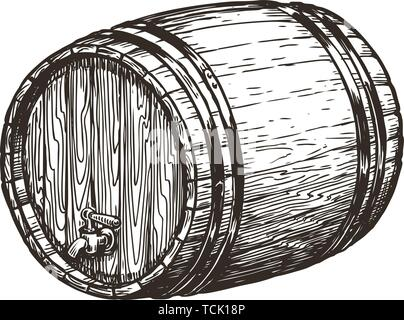 Hand drawn wooden oak barrel. Wine, whisky, beer sketch. Vintage vector illustration - Stock Image