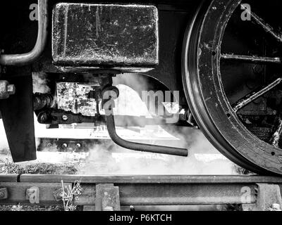 Monotone close up shot of a steam locomotive's wheels with steam at the Mid Suffolk Light Railway - Stock Image