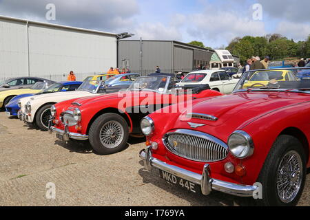 Trio of Austin-Healey 3000 MkIIIs, British Marques Day, 28 April 2019, Brooklands Museum, Weybridge, Surrey, England, Great Britain, UK, Europe - Stock Image