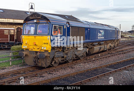 Direct Rail Services 66428 prepaaring to pull train at winter diesel gala at Bo'ness & Kinneil Railway in Bo'ness Falkirk district   Scotland UK - Stock Image