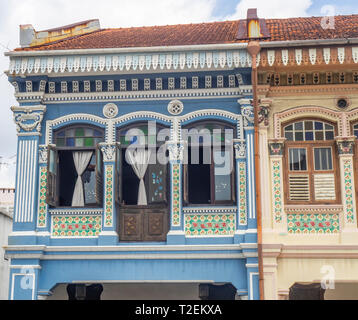 Colourful Peranakan terraced houses popular with instagrammers on Koon Seng Road, Joo Chiat,  Geylang, Singapore. - Stock Image