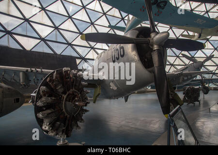 Republic F-47D-40-RE Thunderbolt airplane on display in Serbian Aeronautical museum in Belgrade - Stock Image