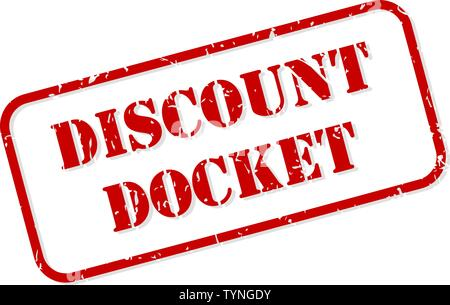 Discount docket red rubber stamp vector isolated - Stock Image