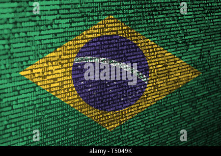 Brazil flag  is depicted on the screen with the program code. The concept of modern technology and site development. - Stock Image