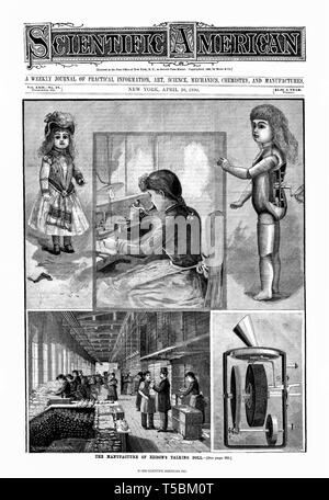 Cover of the Scientific American journal, 26 April 1890 with a feature on the manufacture of Thomas Edison's Talking Doll - Stock Image