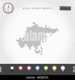 Dots Map of Asian continent. Simple Silhouette of Asia. Realistic Vector Compass. Set of Multicolored Map Markers. Vector Illustration. - Stock Image