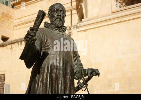Statue of Jean de la Valette, Grand Master of the Knights of St John, in Valletta, Malta - Stock Image
