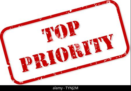 Top priority red rubber stamp vector isolated - Stock Image