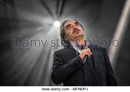 Stephan Eicher performing live at the first edition of MUSILAC Mont-Blanc music festival in Chamonix (France) - 19 April 2018 - Stock Image