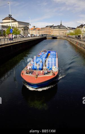 Canal trip boat, Gammel Strand canal, Copenhagen, Denmark,  Scandinavia - Stock Image