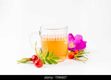 Side view of the rose hip or rosehip, also called rose haw and rose hep tea in clear glass cup, raw berries, blossom and leaves for decoration on whit - Stock Image