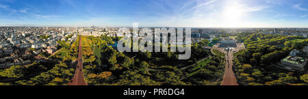 Aerial London City Skyline Wide 360 Degree Panorama View in Central London around Buckingham Palace feat. St James's Park and The Mall in Westminster - Stock Image