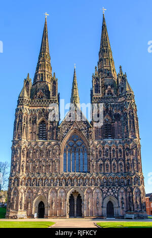Lichfield Cathedral is the only medieval English cathedral with three spires. - Stock Image