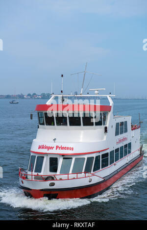 Excursion boat Winkinger Princess touring the Schlei River at Maasholm, county Schleswig-Flensburg, Schleswig-Holstein, Germany, Europe - Stock Image