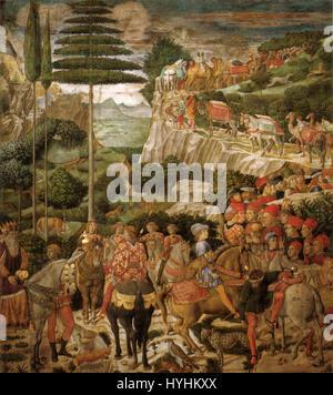 Cappella dei magi, corteo con giuliano de' medici e giuseppe patriarca di costantinopoli - Stock Image