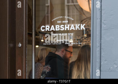 Crabshakk seafood and fish restaurant, Argyle Street, Finnieston, Glasgow, Scotland, UK - Stock Image