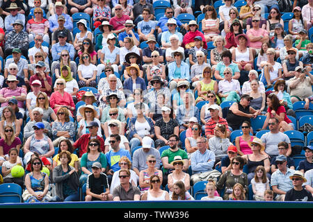 Eastbourne, UK. 23rd June 2019.  The Centre Court crowd watch Johanna Konta of Great Britain in action on her way to victory over Dayana Yastremska of Ukraine in their first round match at the Nature Valley International tennis tournament held at Devonshire Park in Eastbourne . Credit : Simon Dack / TPI / Alamy Live News - Stock Image
