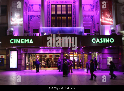 Empire Leicester Square London at night - Stock Image