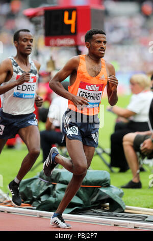 Hagos GEBRHIWET (Ethiopia) competing in the Men's 5000m Final at the 2018, IAAF Diamond League, Anniversary Games, Queen Elizabeth Olympic Park, Stratford, London, UK. - Stock Image