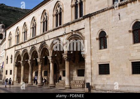 A building facade, Sponza Palace, Dubrovnik, Croatia - Stock Image