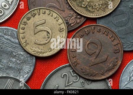 Coins of Nazi Germany. German Reichspfennig coins (1938). - Stock Image