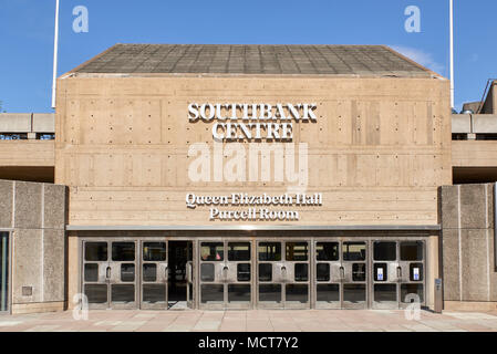 Entrance to Queen Elizabeth Hall and Purcell Room at Southbank Centre in London, UK. - Stock Image