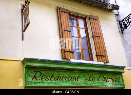Arles; Bouches du Rhone, France; A restaurant sign - Stock Image