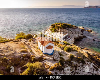 Thassos, Greece. Aerial view of one of the main tourist attraction on the island - Stock Image