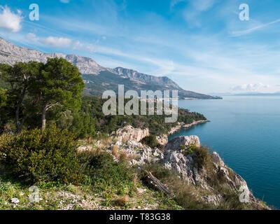 Beautiful nature landscape on Makarska riviera in Croatia - Stock Image