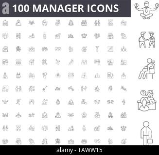 Manager line icons, signs, vector set, outline illustration concept  - Stock Image