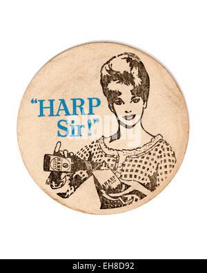 Vintage Beermat Advertising Harp Lager - Stock Image
