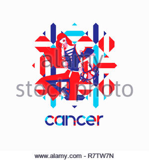 Fashion model in geometric pattern as cancer zodiac sign - Stock Image
