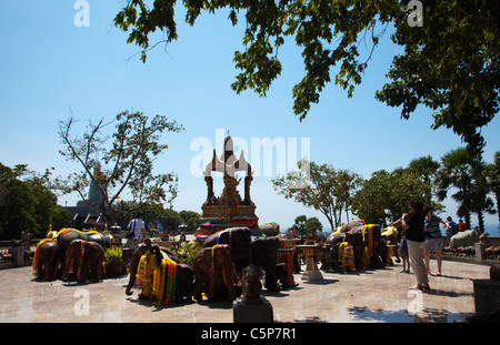 Thai Buddhist Buddhist temple devoted to sacred elephants at Cape Promthep. - Stock Image