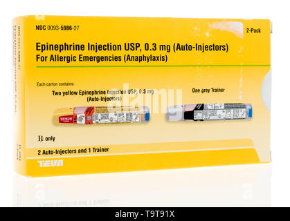 Winneconne, WI - 17 May 2019 : A package of  Teva epineprine auto injector pen for allergic emergenies on an isolated background - Stock Image