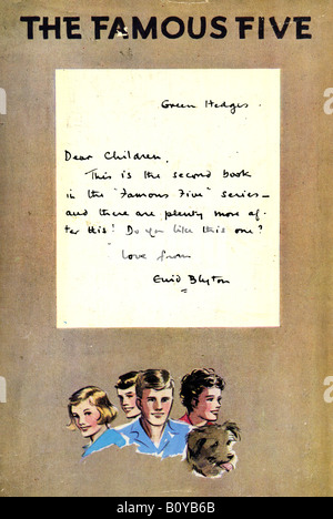 Note from Green Hedges to Children from Enid Blyton The Famous Five Books Five Go Adventuring Again FOR EDITORIAL - Stock Image