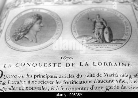 Detail from a 1723 French book: 'Médailles sur les principaux événements du règne entier de Louis le Grand', Château de Chantilly, Oise, France - Stock Image
