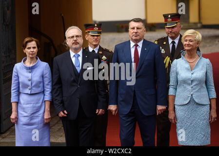 RIGA, LATVIA. 8th of July 2019.  Andra Levita (L), first lady of Latvia, Egils Levits (2nd from Left), newly elected President of Latvia , Raimonds Vejonis (2nd from Right) and Iveta Vejone (R), during Symbolic handover of the keys of the Riga Castle by President of Latvia Raimonds Vejonis to Newly Elected President of Latvia Egils Levits accompanied by First Ladies of Latvia Iveta Vejone and Andra Levite. Credit: Gints Ivuskans/Alamy Live News - Stock Image