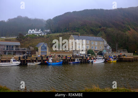 Seaton and Axmouth Harbour in Devon UK - Stock Image