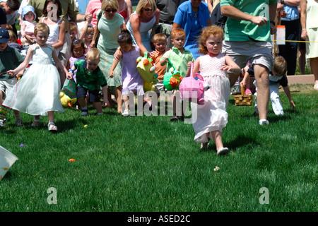 Children at Easter Egg Hunt - Stock Image