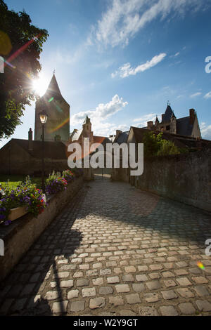 Chateaudun, France. Picturesque silhouetted view of medieval Chateau de Chateaudun, at the Place Jehan de Dunois entrance. - Stock Image