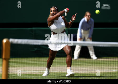 Wimbledon, UK. 11th July 2019, The All England Lawn Tennis and Croquet Club, Wimbledon, England, Wimbledon Tennis Tournament, Day 10; Serena Williams (USA) with a forehand to Barbora Zahlavova Strycova (CZE) Credit: Action Plus Sports Images/Alamy Live News - Stock Image